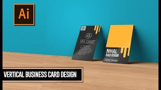 Creative Vertical Business Card Design in Illustrator - Adobe Illustrator Tutorial[2018]