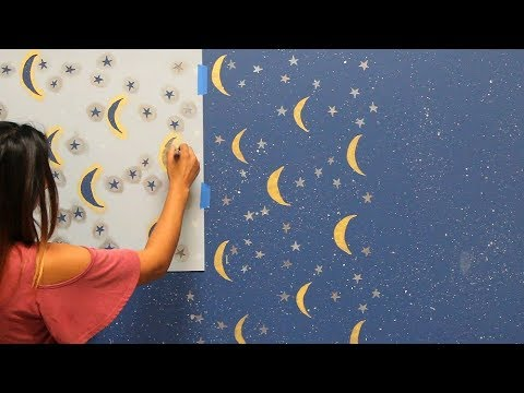 How To Paint A Night Sky Mural With Wall Stencils Diy Nursery Decor