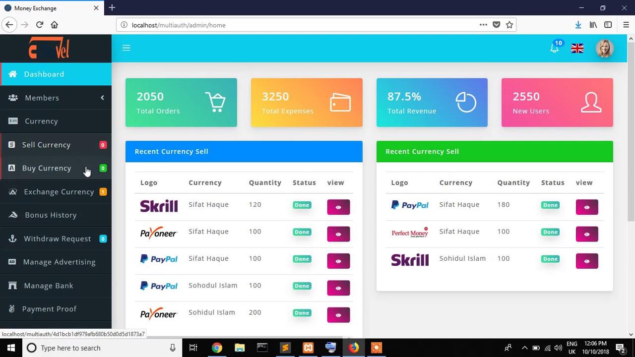 Online Money Exchange Web Lication With Laravel 5 7