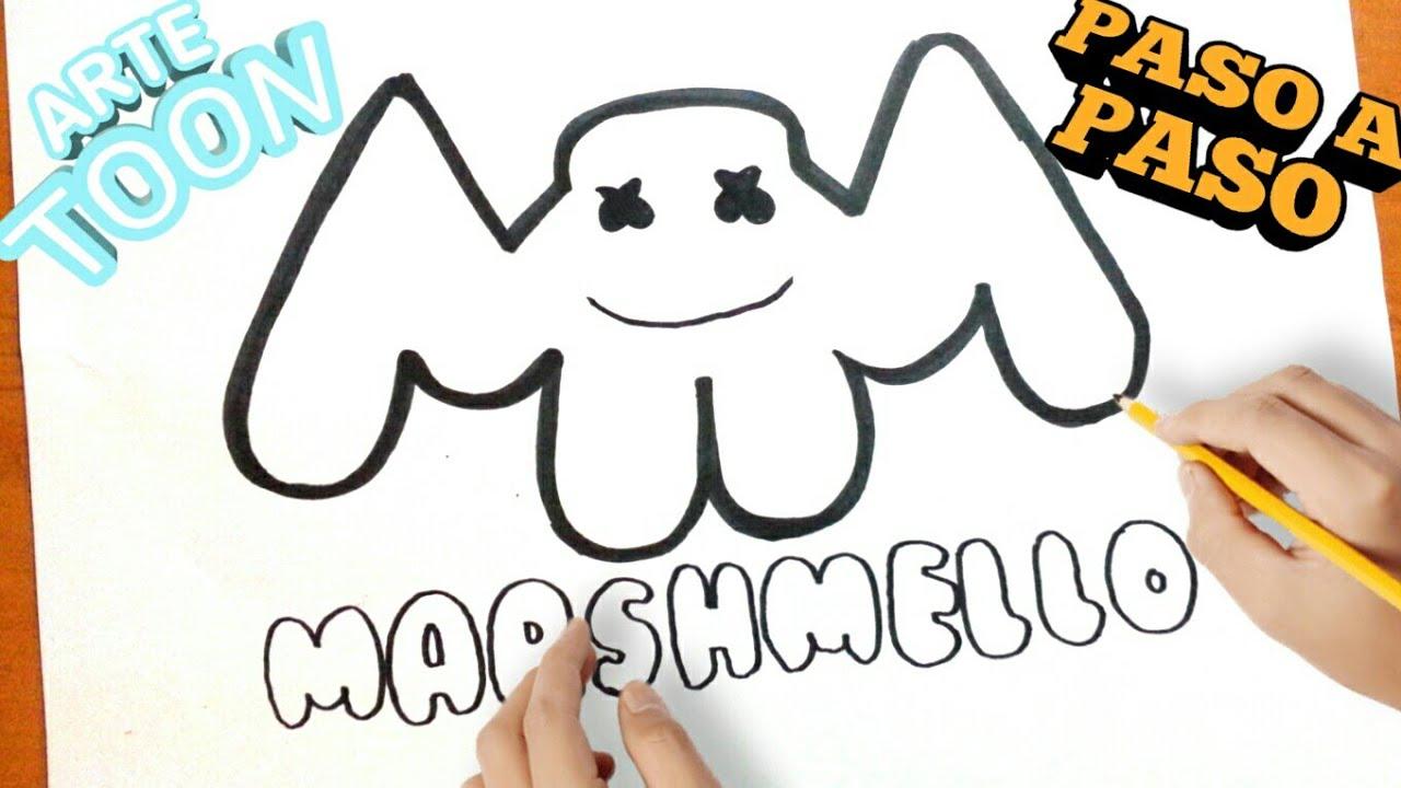 Como Dibujar El Logo De Marshmello Paso A Paso How To Draw Marshmallow