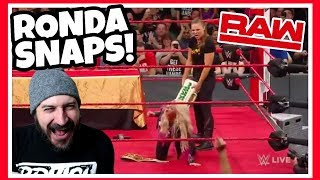 Reaction   RONDA ROUSEY SUSPENDED AFTER ATTACKING KURT ANGLE & ALEXA BLISS!!! WWE Raw June 18, 2018