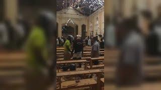 Видео последствий взрыва в церкви на Шри-Ланке
