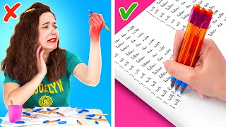 SCHOOL HACKS THAT WILL SAVE YOUR LIFE!  Funny School Supply Hacks by 123 Go! LIVE