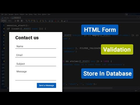 HTML/PHP contact us form  with validation and store data in database