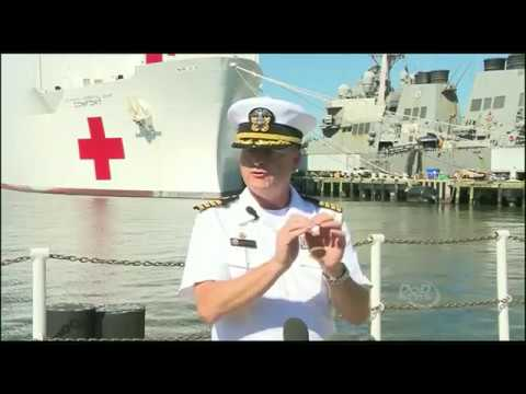 United States Navy press conference on deployment of USNS Comfort