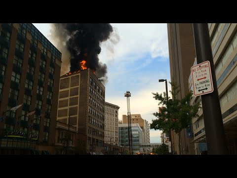 Downtown Fire in Cleveland, Ohio (8-8-15)
