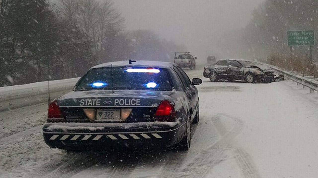 Crown Victoria Police Interceptor Driving In The Snow