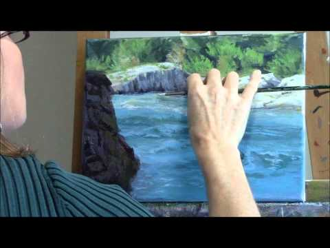 """Shady River"" Part 2 –  White Water River and Cliffs Acrylic Landscape Painting Demo"