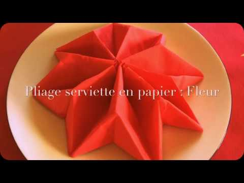Pliage de serviette facile fleur - Pliage de serviette noel facile ...