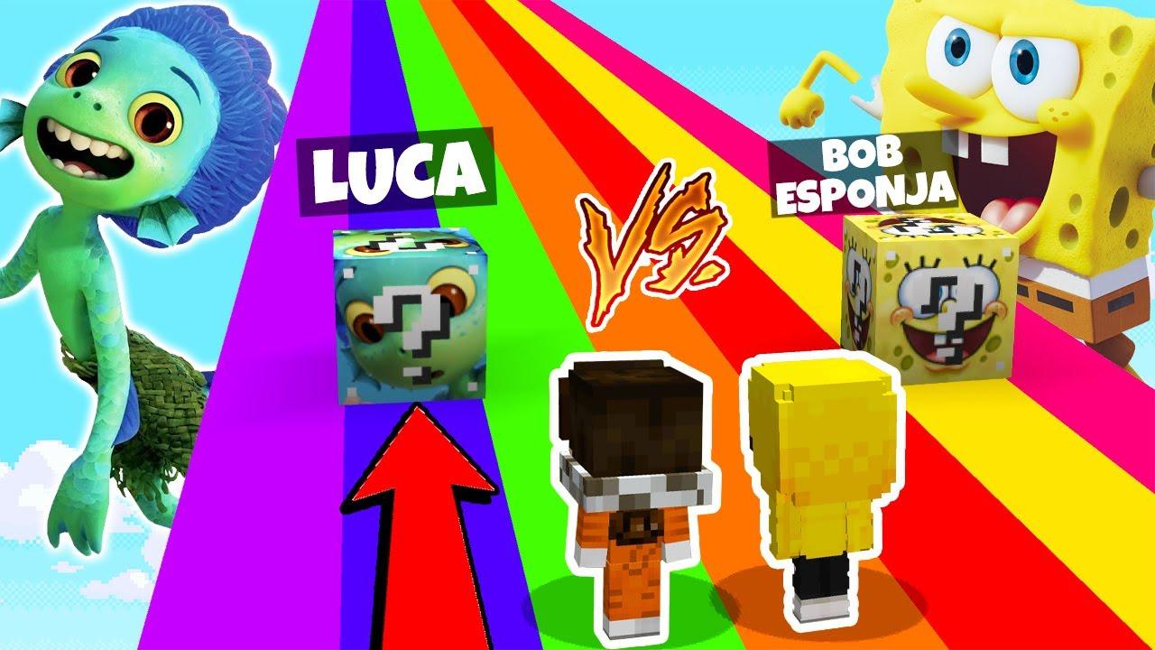 ¡DESAFIO DE LOS LUCKY BLOCKS DE LUCA VS BOB ESPONJA! 😱 CARRERA LUCKY BLOCK PELICULA VS PELICULA