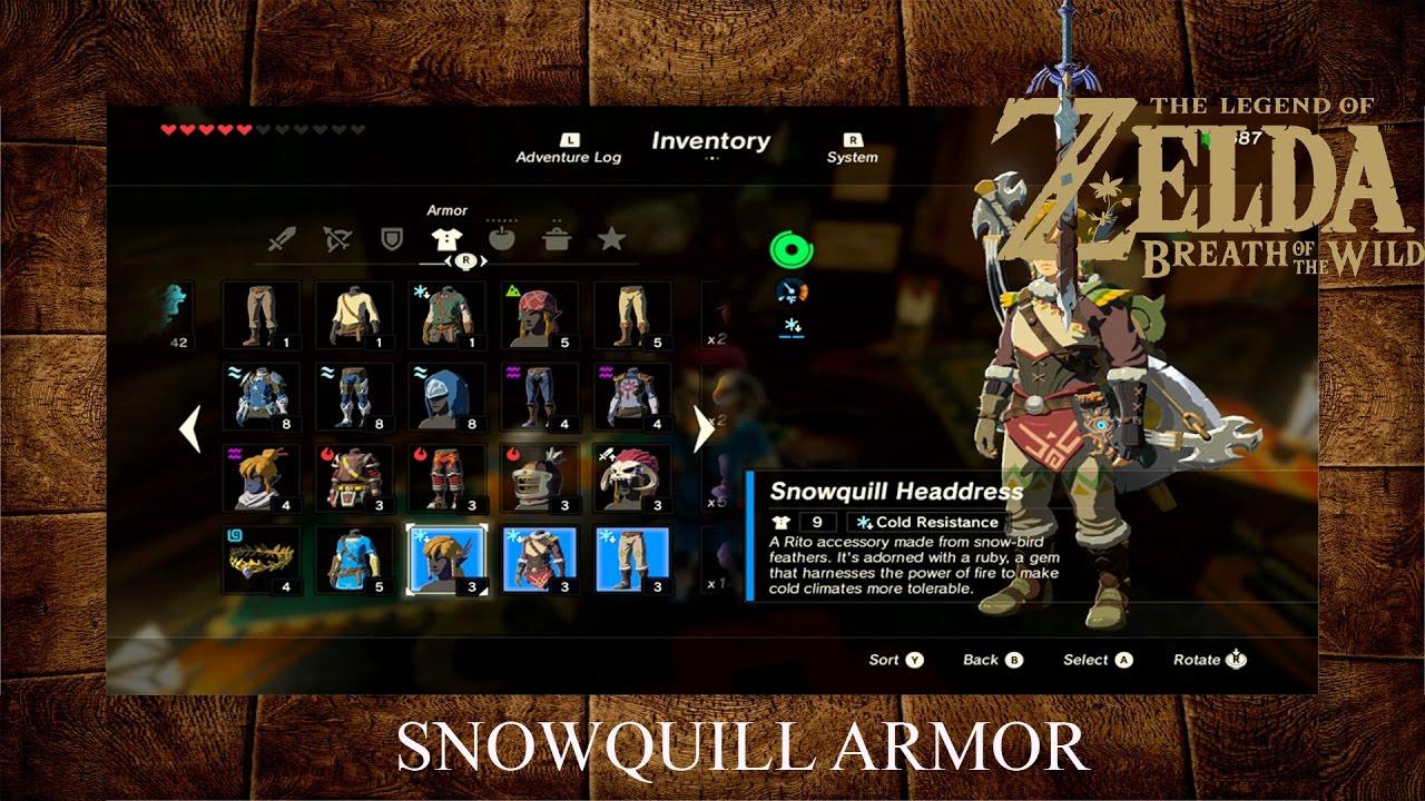 Zelda Breath Of The Wild Snowquill Armor Frost Armor Youtube
