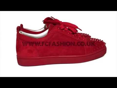 0074d072c88 Christian Louboutin Mens Sneakers - Oeillet Red Louis Junior Spikes Flat  Suede