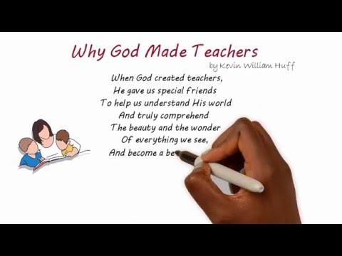 Teacher Poems & Quotes -- When God Created Teachers