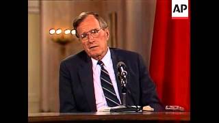 President George H.W. Bush and Soviet Union leader Mikhail Gorbachev hold their final news conferenc