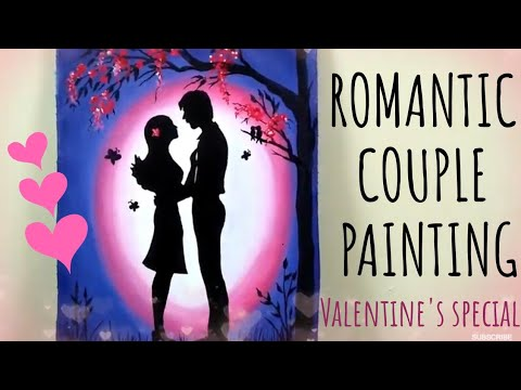 Romantic Couple Acrylic Painting Easy Painting With Stencil Night Scenery Valentines Day Gift Ideas