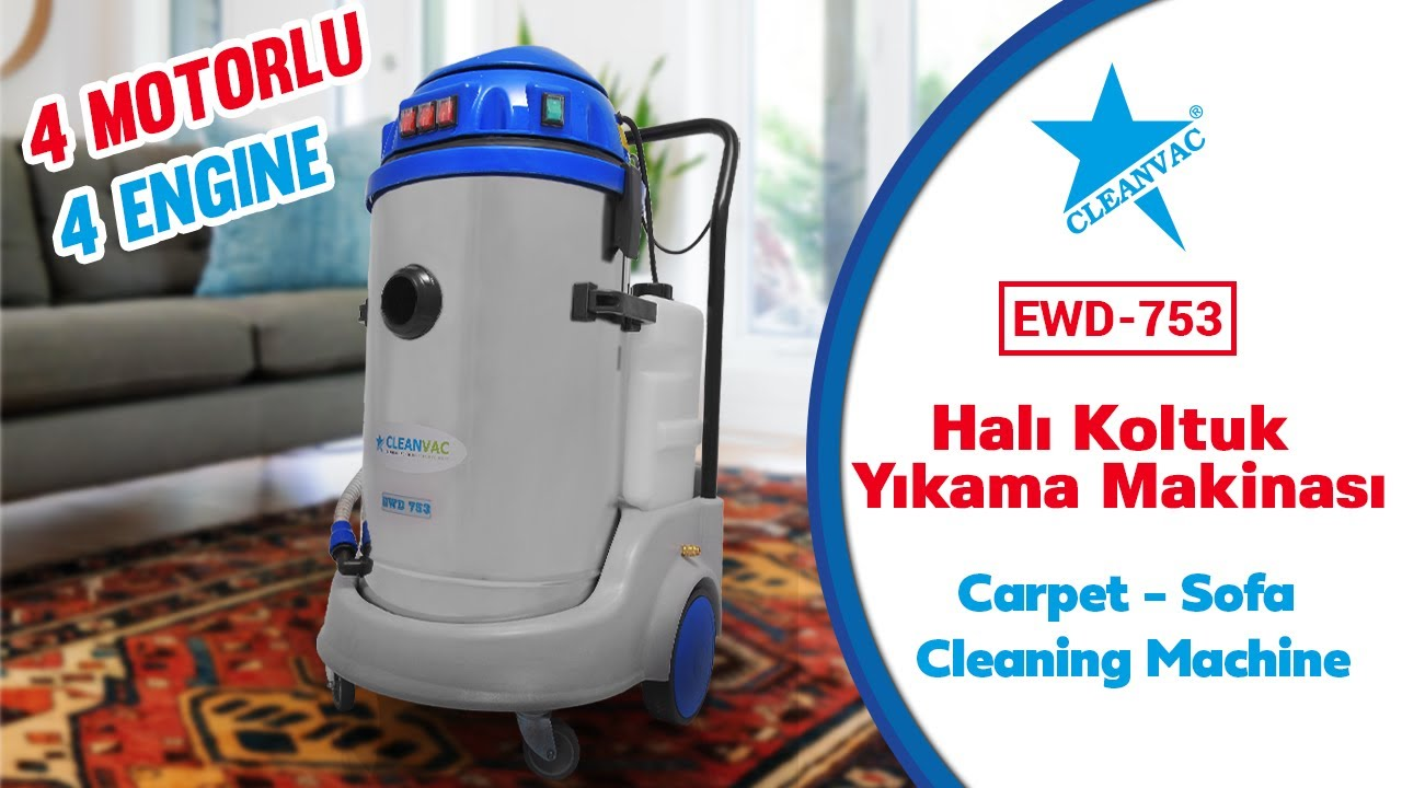 Cleanvac Ewd 753 Hali Koltuk Yikama Makinasi Carpet Sofa Cleaning Machine Youtube