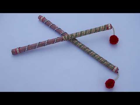DIY/Dandiya decoration idea/how to make dandiya sticks for Navratri Garba dance/Dandiya