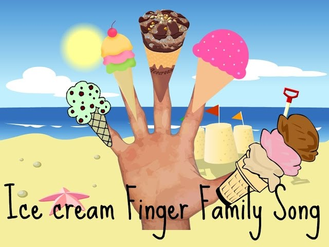 ICECREAM FINGER FAMILY SONG VIDEO (DADDY FINGER) POPSICLE ICE LOLLY BEACH SANDCASTLE