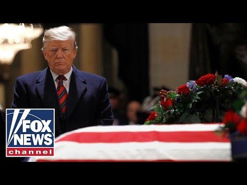 Media attacks Trump in coverage of Bushs death