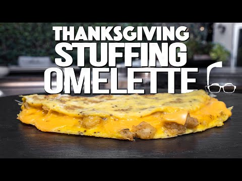 CHEESY STUFFING OMELETTE (THANKSGIVING LEFTOVERS GAME CHANGER) | SAM THE COOKING GUY