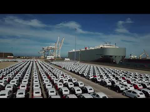 Citi Golf VR6 and 1,000 new VW Polos - Drone footage at the VW South Africa Port