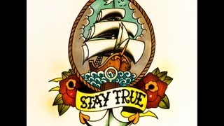 How to draw an Old School Ship Tattoo Flash Design, with Roses and an Anchor By thebrokenpuppet