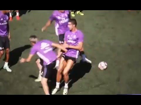Fabio Coentrao nutmegs Cristiano ronaldo 2016 at Real Madrid training