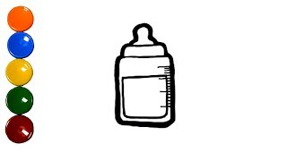 Toy Baby Milk Bottle drawing and coloring for Kids, Children Learn Colors and English