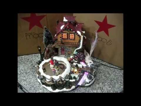 for sale christmas village animated ice skaters pond music box lighted winter snow house display