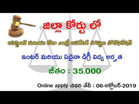 771 District Court Assistant Data Entry Operator Posts Notification 2019