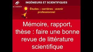 Daniel Dias : Mémoire, rapport, thèse : faire une bonne revue de littérature scientifique