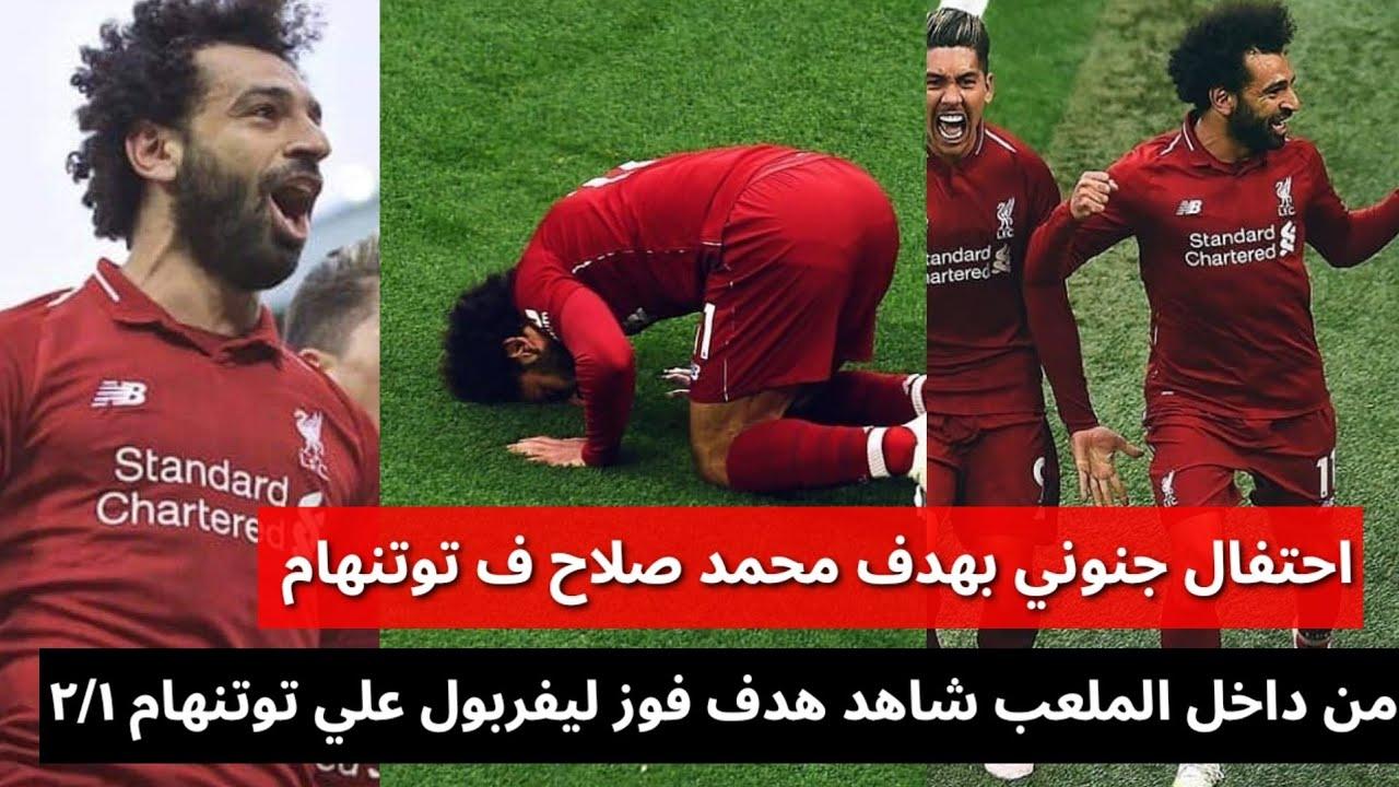 احتفال جنوني بهدف محمد صلاح ف ليفربول من داخل الملعب ليفربول وتوتنهام ٢/١#محمد_صلاح #mosalah