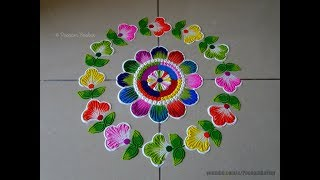Very easy and colorful flowers rangoli  Easy rangoli designs by Poonam Borkar