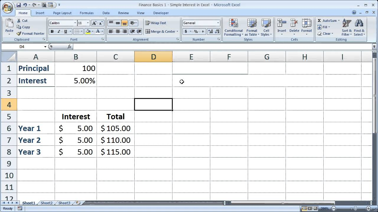 Workbooks simple interest math worksheets : Finance Basics 1 Simple Interest in Excel - YouTube