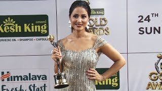HINA KHAN wins Stylish Diva at Gold Awards 2018