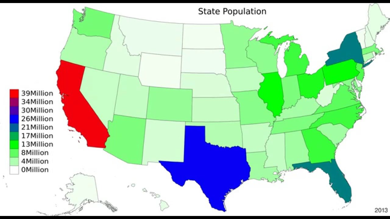 US State Population Map YouTube - Map of us by state