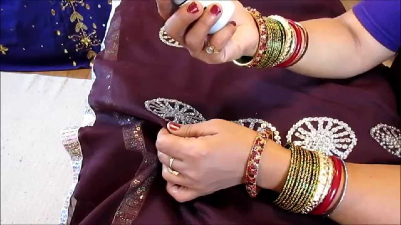 DIY: SAREE DECORATIONS WITH TRIM, SEQUINS AND BEADS