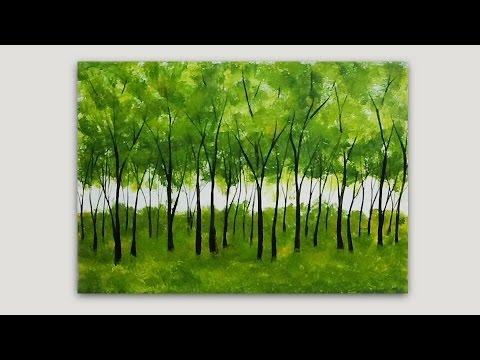 simple trees acrylic painting studiosilvercreek youtube