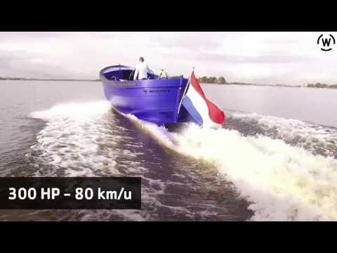 Waterskien achter de snelste aluminium sloep, de waterdream s-850 Speedster