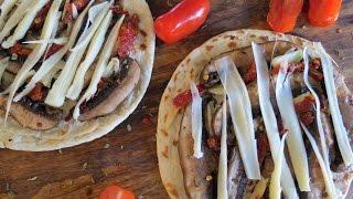 Pita Bread Pizza With Portobello Mushrooms -- The Frugal Chef