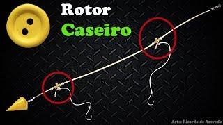 CHICOTE de PESCA de PRAIA com  de ROTOR CASEIRO feito com BOTÃO de CAMISA - Rig Winders