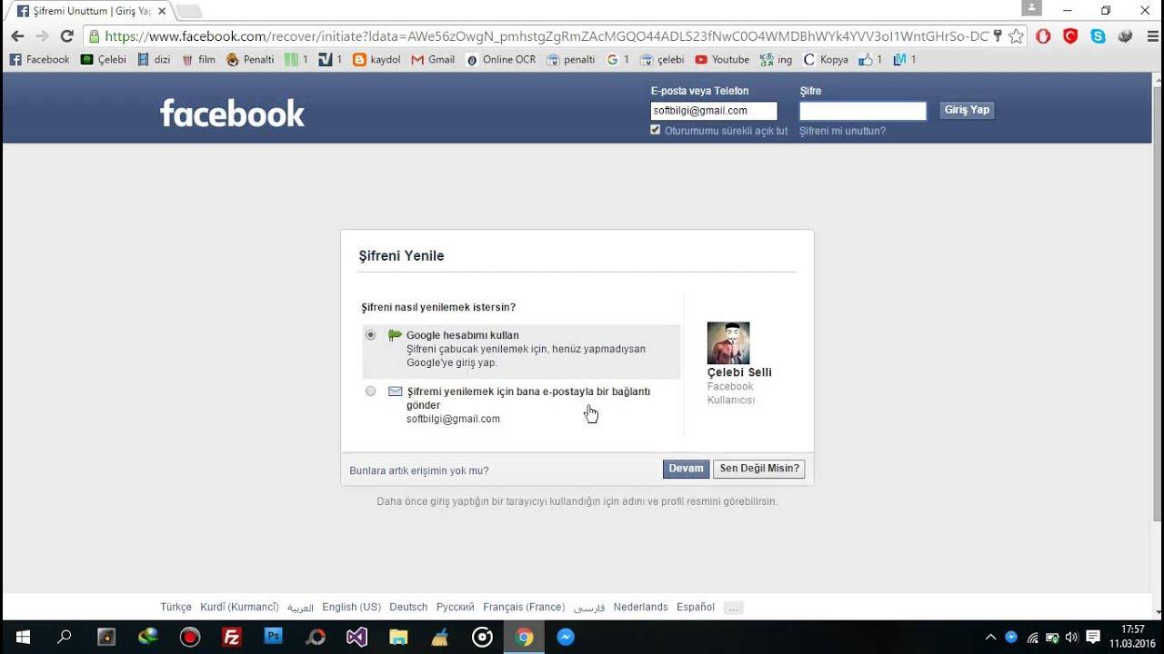 Face şifresini değiştirmeden öğrenme - Facebook şifresini yenilemeden öğrenme