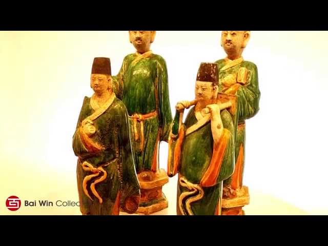 Four Ming Dynasty court attendants in glazed