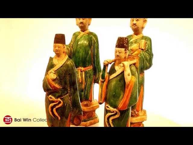 Four Ming Dynasty court attendants in glazed
