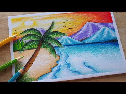 р╕зр╕▓р╕Фр╕гр╕╣р╕Ыр╕Шр╕гр╕гр╕бр╕Кр╕▓р╕Хр╕┤ р╕Чр╕░р╣Ар╕е ( р╕кр╕╡р╣Др╕бр╣Й) | How to draw sea with colour pencil /sea drawing