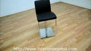 Interiorexpress Dallas Black Leather Adjustable Swivel Bar Stool