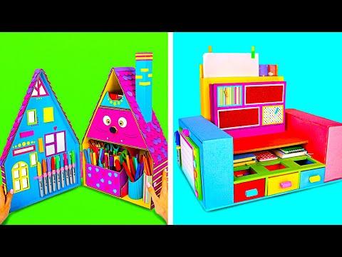 How To Make Colorful Desktop Organizer || DIY Cardboard Organizers For School Supplies