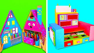 How To Make Colorful Desktop Organizer || DIY Cardboard Organizers For School Supplies
