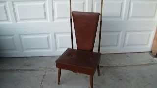Vintage Mid Century Men's Executive Valet Butler Chair W/ Hidden Velvet Storage Chest