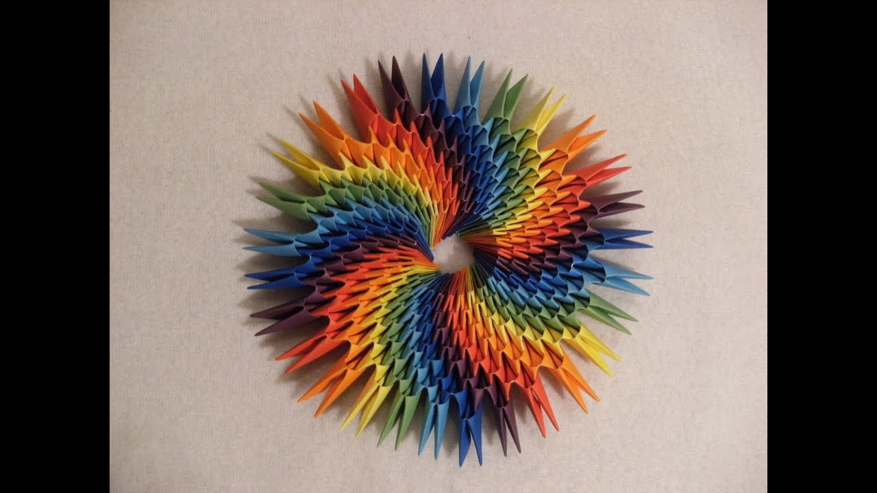 3D origami - ROUND RAINBOW DECORATION - how to make ...